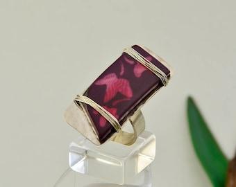 Silver purple rectangular tribal ring, nature inspired large jewelry, full finger women boho ring
