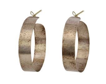 Giant  2 inch hoop earrings, statement large thick hoops, silver or gold wide chunky hoops