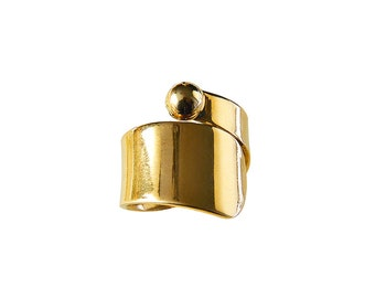 Wide gold or silver solid pinky ring, men or women little finger ring, wrapped around jewelry
