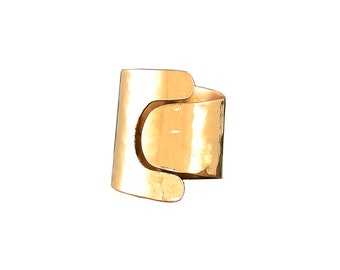 Gold cuff ring, gold wide ring, hammered band, little finger ring, wide pinky ring, brass jewelry, long finger ring, shiny gold ring