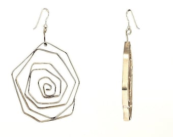 Silver tribal 3 inch dangle earrings , Greek spiral giant hexagon earrings , african extra large 80 mm earrings