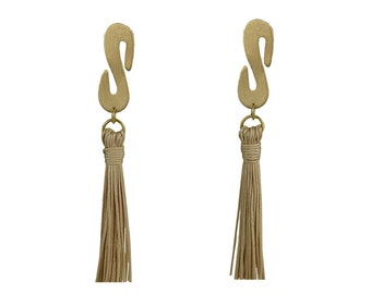 Gold tassel earrings, beige tassel stud, handmade boho earrings, custom fringe earrings, red tassel stud, long gold earrings, women studs