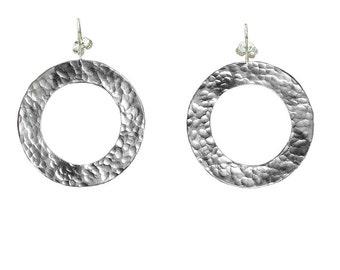 Silver hammered hoop, drop hoop, tribal earring, wide drop loop, light weight jewelry, 40 mm hoop, bohemian hoops, african earrings