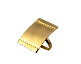 Gold large rectangle ring, 30 mm index or middle finger ring, square full finger ring