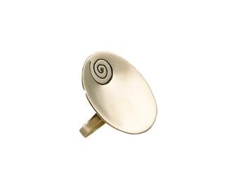 Silver large oval adjustable ring,  big handmade spiral design ring, geometric bold index middle finger ring