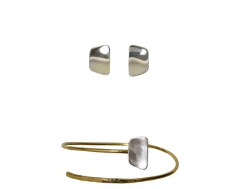 Gold silver cuff bracelet and silver studs set, Sterling silver earrings  mixed metals cuff bracelet,  Mothers day gift