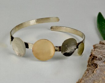 Cuff bracelet with circles, open cuff bracelet, metallic cuff bracelet, mixed metals jewelry, five circle bracelet, adjustable cuff bracelet
