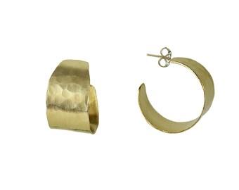 Gold thick small fat hoop earrings, custom artisan jewelry, plain wide 20 mm creole hoop earrings