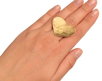Gold large heart index ring, chunky wide middle finger ring, valentines day gift for her