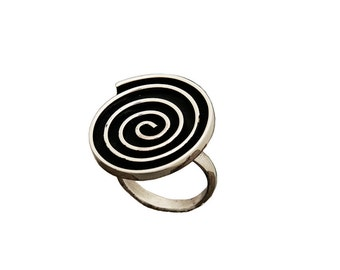 Silver large disc ring , big Greek spiral ring, 25 mm circle of life index  ring,  boho middle finger ring