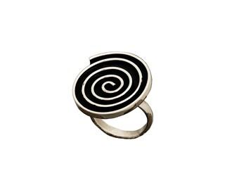 Alpaca silver disc spiral adjustable ring, large index finger ring or middle finger ring, silver black boho big ring
