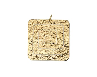 Gold large pendant, square spiral pendant, gold tribal pendant, pendant for necklace, statement pendant, boho jewelry, women men pendant