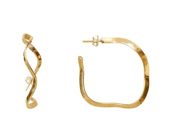 Gold tone large wavy hoop earrings, shiny or hammered twisted hoops, round textured  2 inches hoop earrings