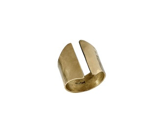 Gold cuff ring, gold open ring, long gold ring, wrap around ring, wide band ring, hammered ring, gold tube ring, gift under 20, brass ring