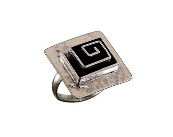 Square sterling silver index ring, oxidized large boho adjustable ring, geometric minimalist jewelry ready to ship