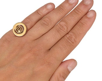 Gold large disc pinky ring, little finger adjustable ring, round minimal spiral band ring