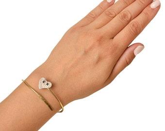 Silver gold heart  initials cuff bracelet, sterling silver letter wrap cuff bracelet, monogram alphabet spiral open bracelet