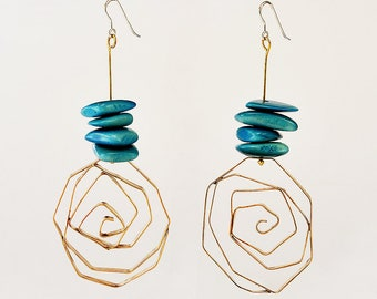 Turquoise  gold tagua nut earrings, Large asymmetric tribal earrings, Greek spiral beaded 4 inch  earrings