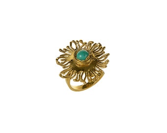 Turquoise large gold sunflower ring, adjustable cocktail lotus ring, boho handmade floral jewelry