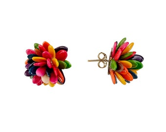 Handmade flower seed  earrings, fashion boho stud earrings, cluster organic post earrings