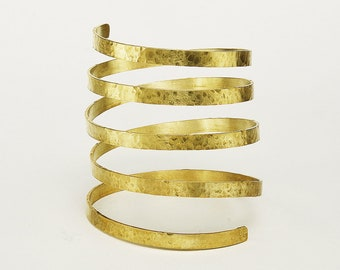 Gold or silver 5 loops cuff , gladiator lower arm cuff  bracelet, wrap extra wide large cuff bangle