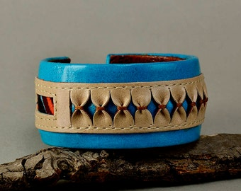Turquoise leather bracelet, chunky cuff, ethnic jewelry, fat cuff, boho bangle, colorful jewelry, women bangle, unique gift idea
