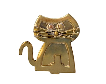 Gold large cat brooch, cat animal lovers handmade gift, plain wide big statement pin