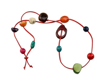Multicolor tagua long red cord necklace, ethnic  rainbow necklace, beaded colorful jewelry