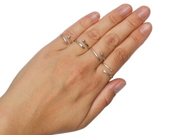 Sterling silver wrap delicate ring, pinky dainty hammered layered ring, silver thin  stacking open ring