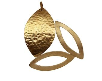 Gold large leaf hammered pendant, brutalist metal work medallion, nature inspired bold jewelry
