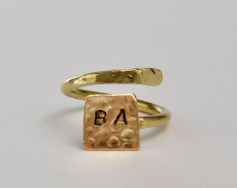 Gold or silver wrap pinky ring, initials square dainty ring, geometric name personalized jewelry