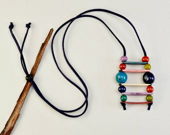 Eco friendly colorful boho necklace, Tagua  mosaic jewelry, long cord eco necklace, bridal party gift