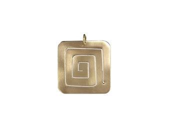 Gold square  spiral pendant, brass minimalist jewelry, geometric necklace pendant