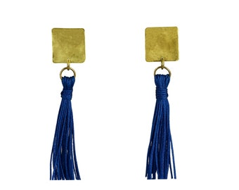 Cobalt blue tassel earrings, long blue earrings, statement earrings, boho jewelry, bohemian earrings, stud tassel earrings, square earrings