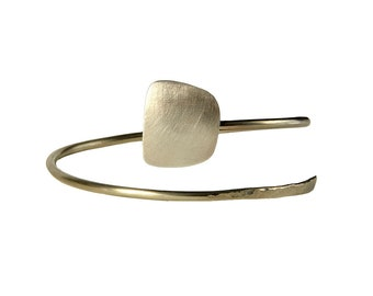 Spiral square silver cuff bracelet, alpaca and sterling silver cuff bracelet , adjustable women open bangle