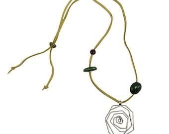 Large pendant necklace, silver spiral pendant boho necklace, men women long necklace