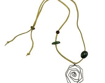 Large pendant necklace, silver pendant, spiral pendant necklace, boho necklace, free shipping, men necklace, women necklace, long necklace