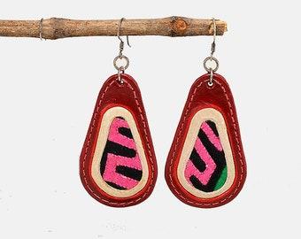 Genuine leather earring, large leather drop, oval jewelry, red earring, tear drop jewelry, long earring, unique jewel, fat earring