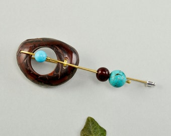 Tagua nut brooch, turquoise pin, large brooch, long brass pin, boho jewelry, chunky brooch, original jewelry, boho design, ethnic jewel