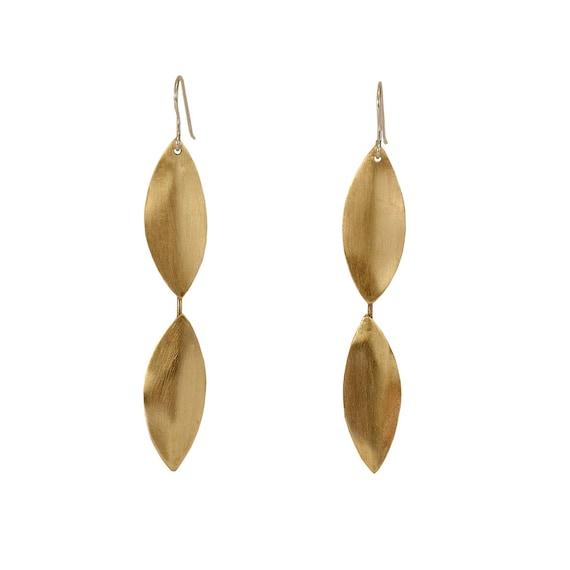 Gold Long Dangle Earrings Long Drop Earrings Simple Etsy