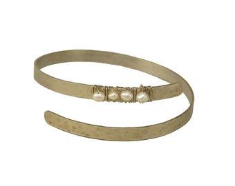 Bridesmaid pearl bracelet, silver tone cuff, thin alpaca bangle, minimal cuff, custom bracelet, bride jewelry, hammered bangle, dainty cuff