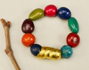 Tagua multicolor bracelet, brass beaded bangle, boho jewelry, Fair Trade Jewelry, comfortable stretchy bangle , chunky rustic wristlet
