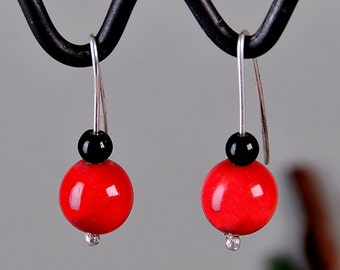 Red tagua earrings, silver short drops, onyx dangle earring, red black jewelry, vegetable ivory drops, eco jewelry, woman unique drops.