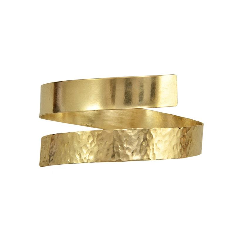 wide wrap around hammered bracelet Gold open upper arm cuff  bracelet Greek goddess arm band