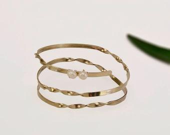 Wrap around bracelet, silver pearl bracelet, triple cuff,  twisted jewelry, custom bracelet, bride jewelry, wedding jewelry, bridesmaid gift