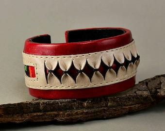 Red leather bracelet, chunky cuff, ethnic jewelry, fat cuff, boho bangle, colorful jewelry, women bangle, unique gift idea, broidery jewelry
