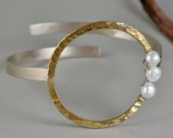Mixed metals cuff bracelet, geometric pearl cuff, circle open bangle, bride jewelry, large gold cuff, chunky bracelet, anniversary gift idea