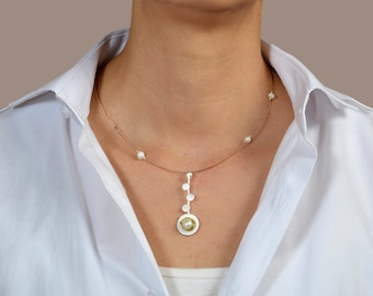 Sterling silver pendant necklace, circle pendant necklace, pearl jewelry, geometric necklace, minimal choker, dainty choker, women gift