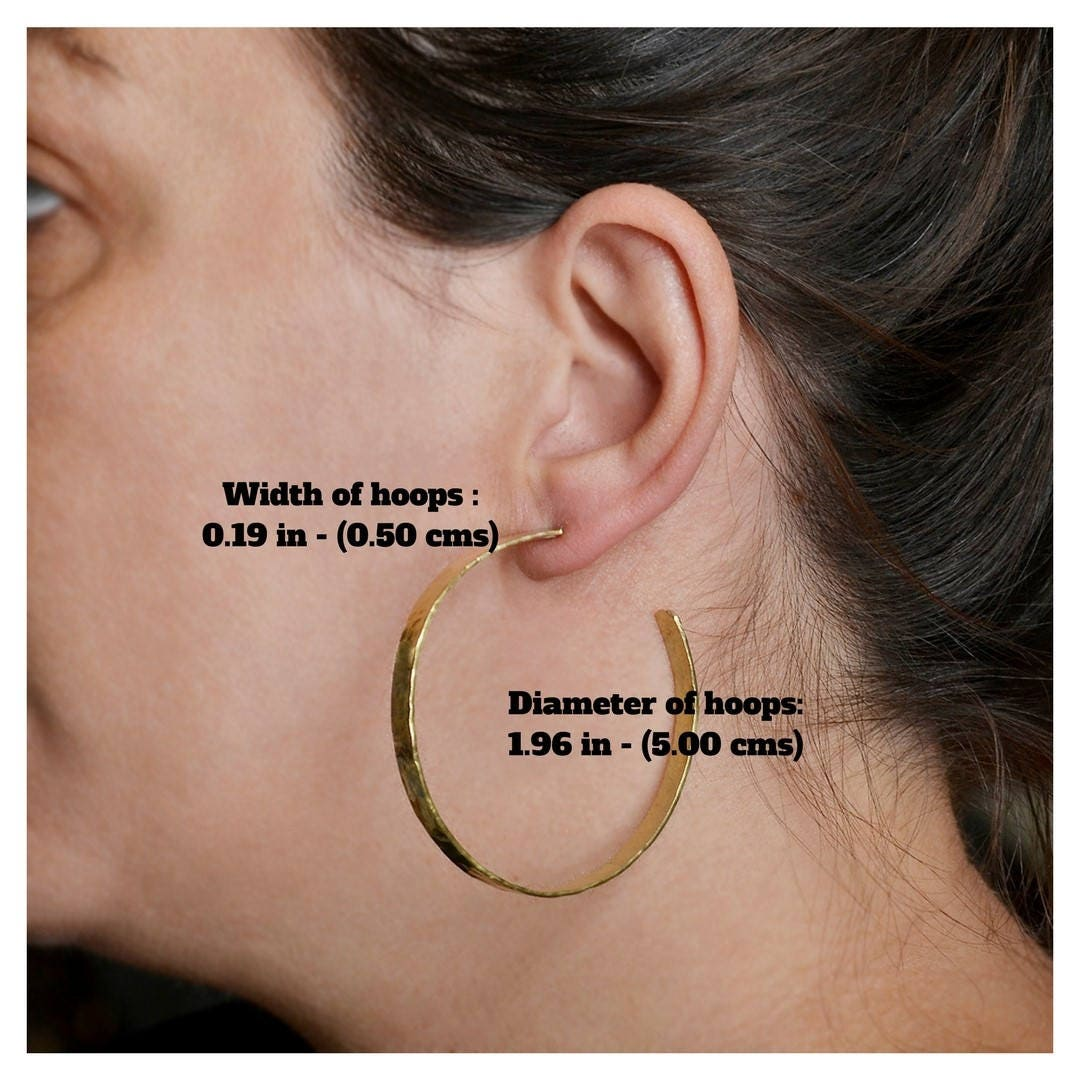 15d08c043 Large gold or silver post hoop earrings, 2 inches hoops , brass jewelry, shiny  thin stud hoop earrings