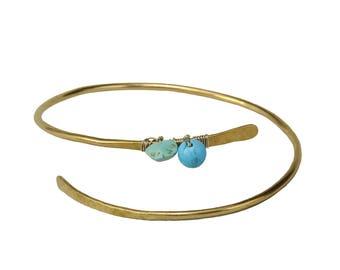 Gold turquoise bracelet, metallic slim bangle, hammered cuff, unadorned thin bangle, adjustable bracelet, brass jewelry, women gift under 20